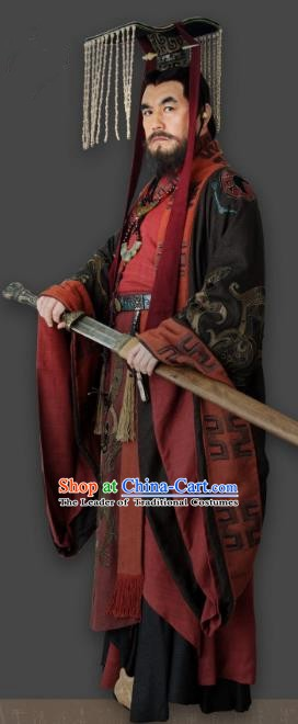 Chinese Ancient First Emperor Qin Dynasty Monarch Replica Costume and Headpiece Complete Set for Men