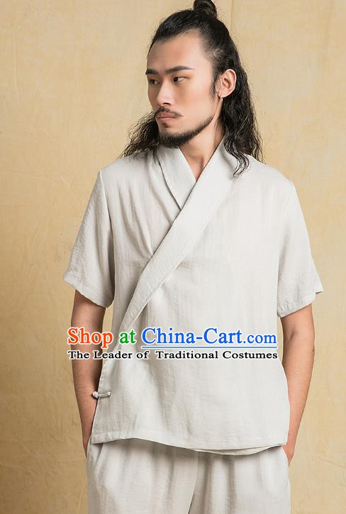 Chinese Kung Fu Grey Costume Tang Suits Martial Arts Gongfu Wushu Tai Chi Clothing for Men