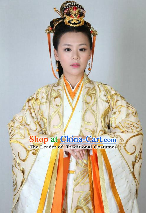 Traditional Chinese Ancient Warring States Period Wei Kingdom Princess Embroidered Replica Costume for Women