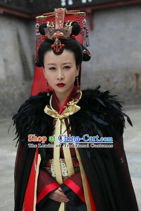 Traditional Chinese Ancient Warring States Period Qin Kingdom Princess Meng Ying Embroidered Replica Costume for Women