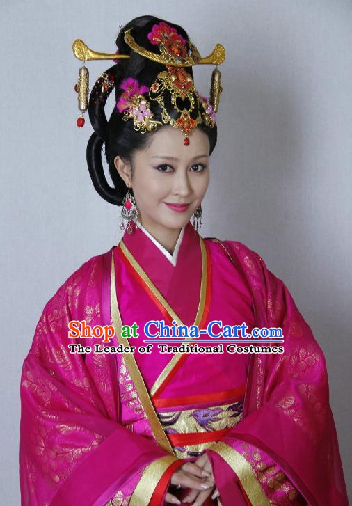 Traditional Chinese Ancient Qin Kingdom Imperial Consort Zheng Xiu Embroidered Replica Costume for Women