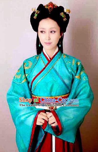 Traditional Chinese Ancient Qin Kingdom Palace Lady Zheng Xiu Embroidered Replica Costume for Women