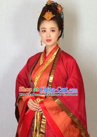 Traditional Chinese Ancient Chu Kingdom Imperial Concubine Ju Hanfu Dress Embroidered Replica Costume for Women