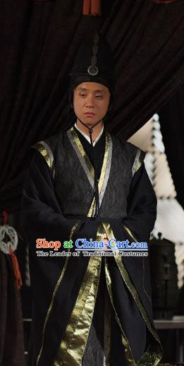 Traditional Chinese Ancient Qin State Eunuch Replica Costume for Men