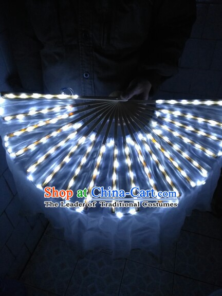 White Professional Stage Performance LED Dance Fans Dancing Fan Hands Props