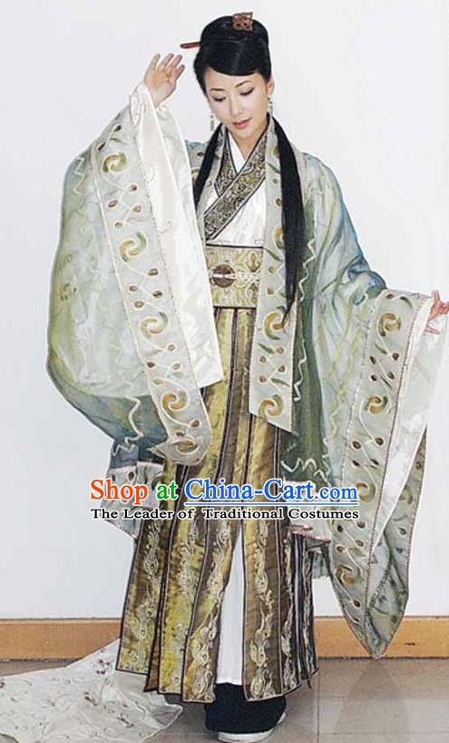 Chinese Ancient Han Dynasty Empress Lv Zhi Replica Costume Queen Hanfu Dress for Women