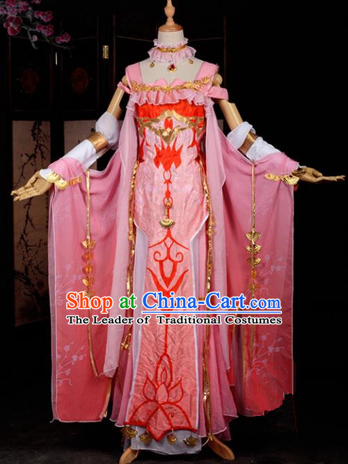 Chinese Ancient Female Knight-errant Costume Cosplay Fairy Pink Dress Hanfu Clothing for Women