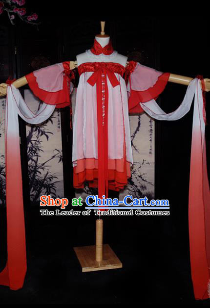 Chinese Ancient Young Lady Costume Cosplay Swordswoman Red Dress Hanfu Clothing for Women