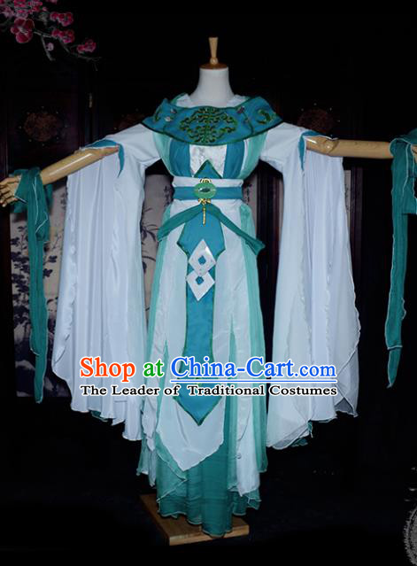 Chinese Ancient Young Lady Embroidered Costume Cosplay Swordswoman Dress Hanfu Clothing for Women