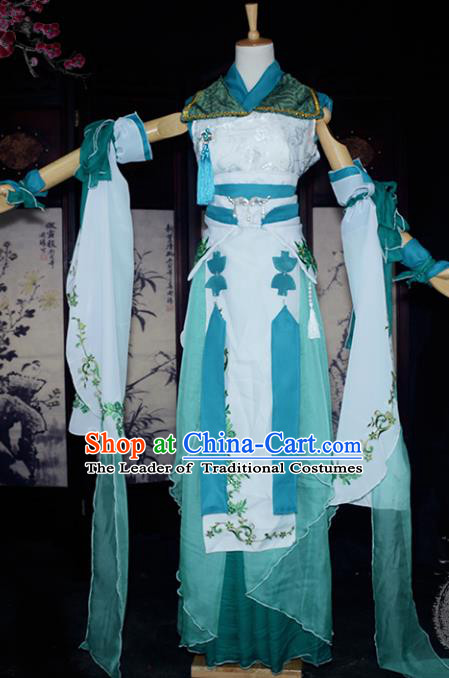 Chinese Ancient Female Knight Embroidered Costume Cosplay Swordswoman Dress Hanfu Clothing for Women