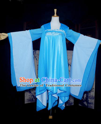 Chinese Ancient Female Knight Embroidered Costume Cosplay Swordswoman Blue Dress Hanfu Clothing for Women