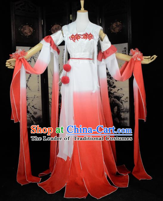 Chinese Ancient Female Knight Costume Cosplay Princess Red Dress Hanfu Clothing for Women