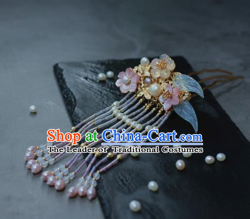 Traditional Chinese Ancient Tassel Step Shake Classical Hair Accessories Handmade Flowers Hairpins for Women