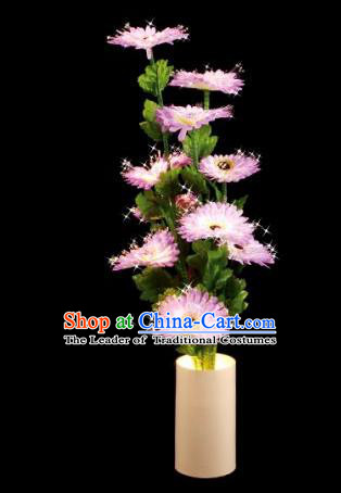 Traditional Handmade Chinese Pink Chrysanthemum Lanterns Electric LED Lights Lamps Desk Lamp Decoration