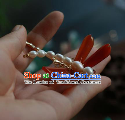 Traditional Chinese Ancient Handmade Pearls Dragonfly Hair Stick Classical Hair Accessories Hairpins for Women