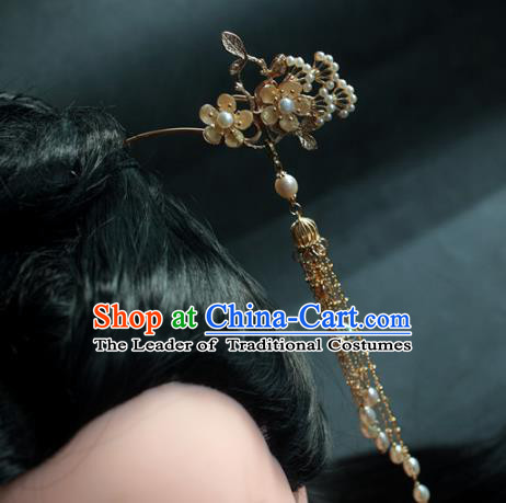 Traditional Chinese Ancient Pearls Tassel Step Shake Hair Clips Hair Accessories Handmade Hanfu Hairpins for Women