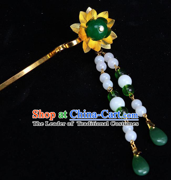 Chinese Ancient Hair Accessories Step Shake Traditional Tassel Hairpins Headwear for Women