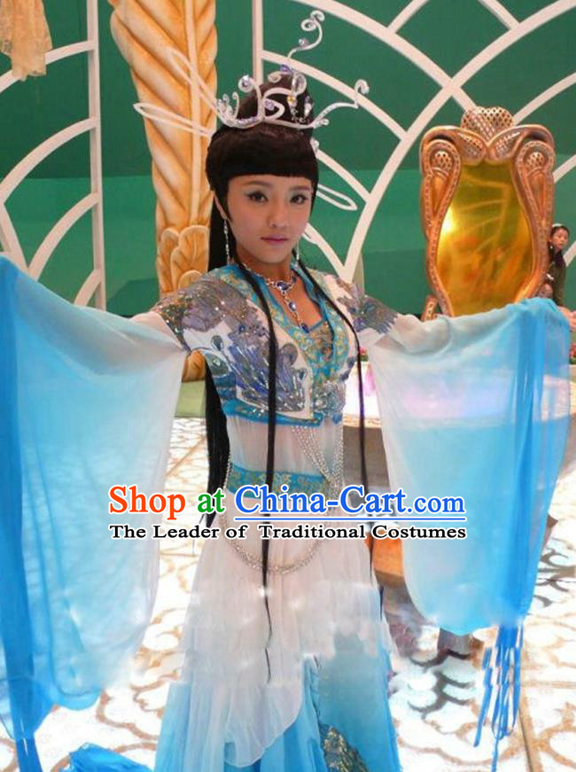 Traditional Chinese Ancient Fairy Costume, China Tang Dynasty Princess Dance Clothing and Headpiece for Women