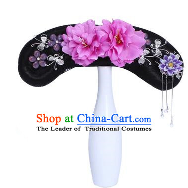 Chinese Ancient Manchu Princess Hair Accessories Traditional Qing Dynasty Palace Lady Headwear for Kids