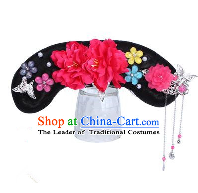 Chinese Ancient Manchu Princess Hair Accessories Wig and Red Peony Hairpins Traditional Qing Dynasty Palace Lady Headwear for Kids