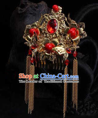 Chinese Ancient Wedding Hair Accessories Xiuhe Suit Phoenix Coronet Traditional Bride Headwear for Women