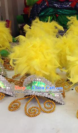 Chinese Classical Dance Hair Accessories Traditional Folk Dance Yanko Dance Yellow Feather Headwear for Women