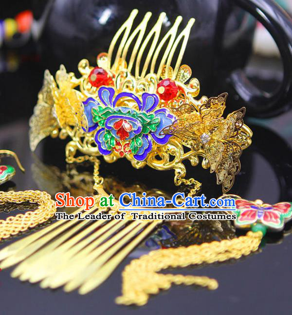 Chinese Ancient Hair Accessories Hanfu Golden Xiuhe Suit Hairpins Blueing Lotus Hair Comb Traditional Palace Headwear for Women