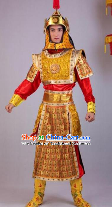 Traditional Chinese Ancient General Costume, China Qing Dynasty Warrior Helmet and Armour for Men