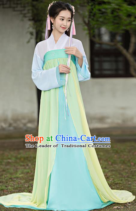 Traditional Chinese Ancient Court Maid Costume Tang Dynasty Palace Lady Green Hanfu Dress for Women
