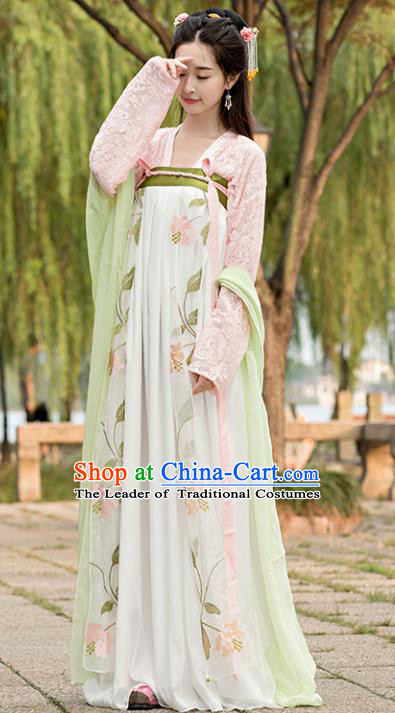 Traditional Chinese Ancient Court Lady Embroidered Costume Tang Dynasty Princess Hanfu Dress for Women