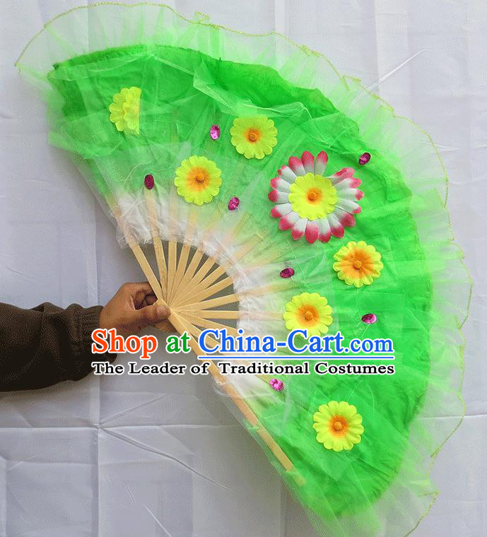 Chinese Traditional Folk Dance Folding Fans Classical Yangko Dance Green Silk Fans for Women