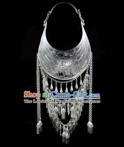 Chinese Traditional Miao Nationality Accessories Sliver Bells Tassel Necklace, Hmong Ethnic Female Necklet for Women