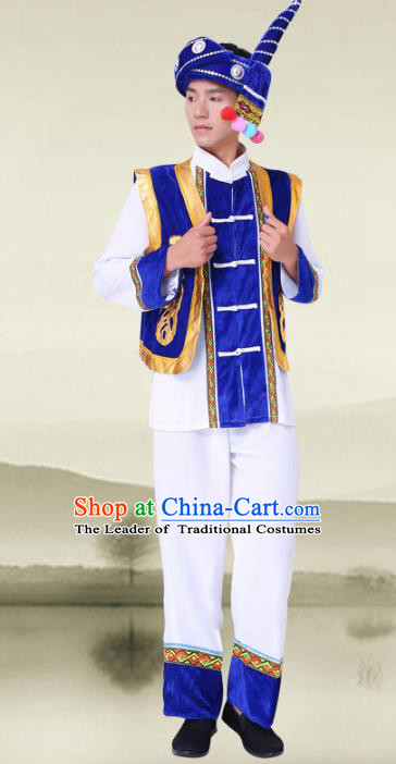 Traditional Chinese Tujia Nationality Costumes and Headwear Tujia Ethnic Minority Embroidery Clothing for Men
