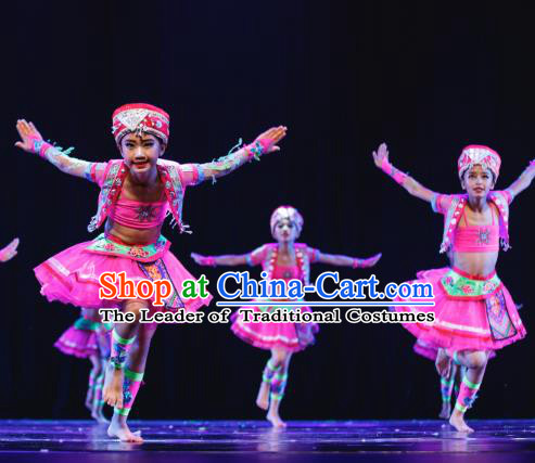 Traditional Chinese Miao Minority Folk Dance Costume, Children Classical Dance Ethnic Dress Clothing for Kids
