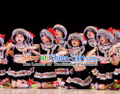 Chinese Traditional Folk Dance Ethnic Costume, Children Tujia National Minority Classical Dance Clothing for Kids