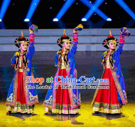 Traditional Chinese Mongolian Nationality Folk Dance Embroidered Costume, China Ethnic Minority Dance Clothing for Women
