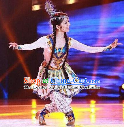 Traditional Chinese Uyghur Nationality Folk Dance Embroidered Costume, China Ethnic Minority Dance Clothing for Women