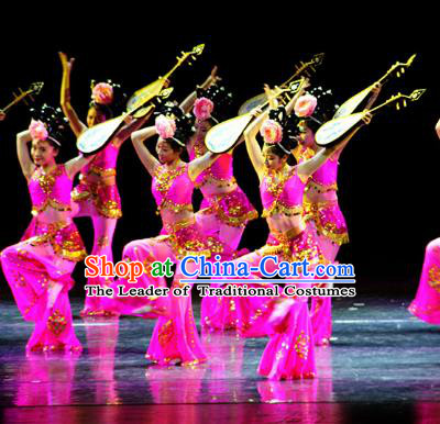 Traditional Chinese Classical Dance Dunhuang Flying Apsaras Costume, China Folk Dance Stage Performance Dance Dress Clothing for Women