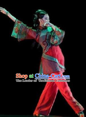 Traditional Chinese Classical Dance Costume, Folk Dance Yangko Dance Red Dress Clothing for Women