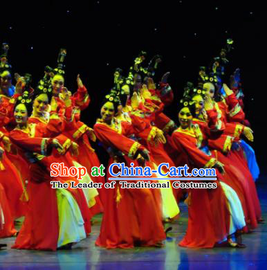 Chinese Traditional Folk Dance Classical Dance Stage Performance Costume, China Yangko Dance Hanfu Clothing for Women