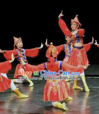 Chinese Traditional Folk Dance Costume Classical Dance Mongolian Dress, China Mongol Nationality Stage Performance Clothing for Women
