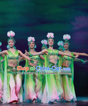 Traditional Chinese Lotus Dance Costume, China Folk Dance Classical Dance Clothing for Women