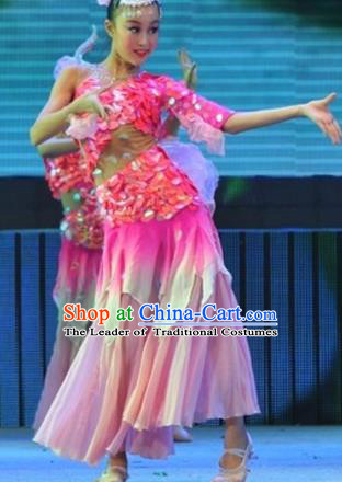 Chinese Traditional Lotus Dance Stage Performance Costume, China Folk Dance Pink Dress for Children