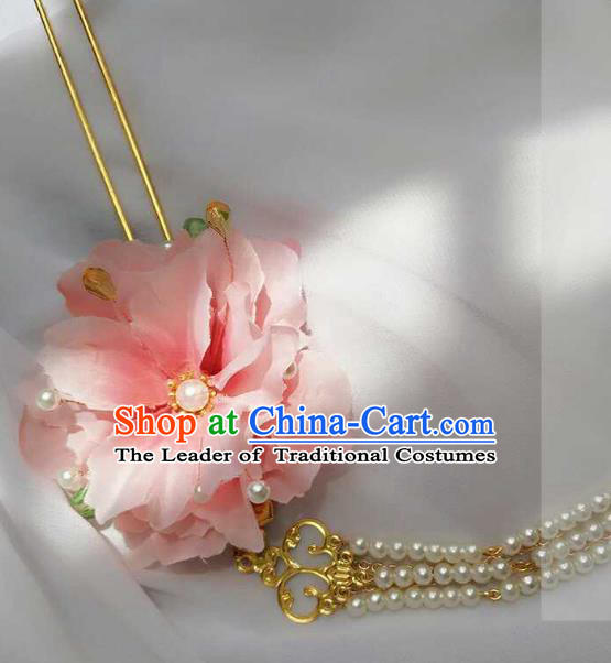 Chinese Traditional Ancient Hair Accessories Classical Pink Flowers Step Shake Hanfu Hairpins for Women