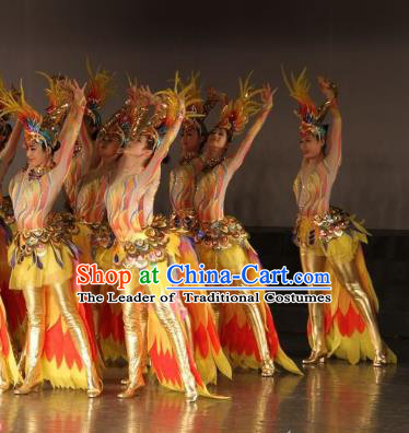Traditional Chinese Sunbird Dance Costume, China Folk Dance Classical Dance Dress for Women