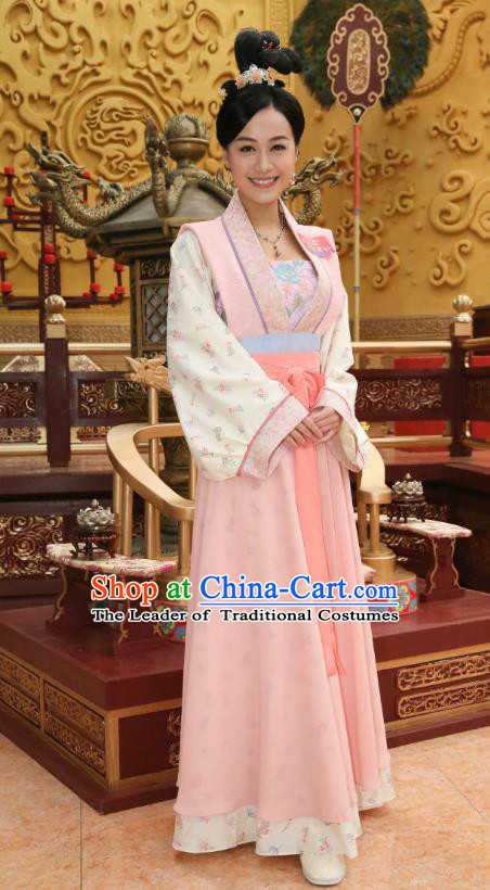 Chinese Ancient Palace Lady Hanfu Dress Tang Dynasty Las Meninas Embroidered Costumes for Women