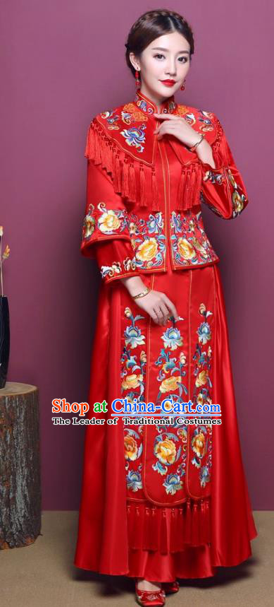 Chinese Traditional Wedding Dress Costume Red Bottom Drawer, China Ancient Bride Embroidered Xiuhe Suit for Women
