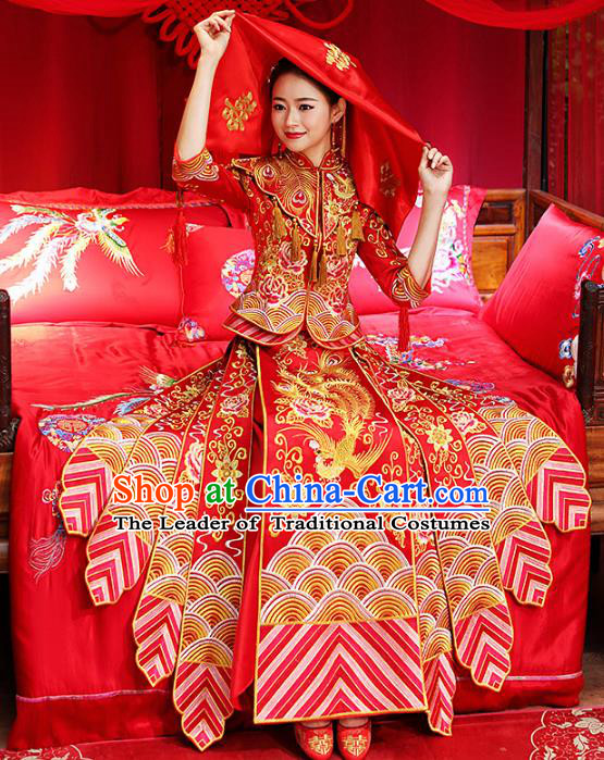 Chinese Traditional Bride Toast Clothing Embroidered Red Xiuhe Suits Ancient Bottom Drawer Wedding Costumes for Women