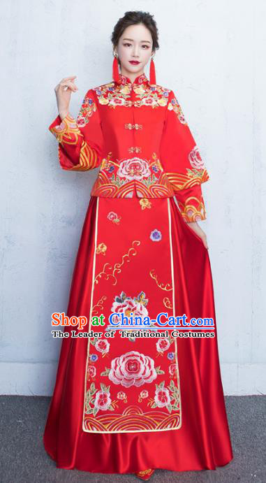 Chinese Traditional Bride Toast Clothing Embroidery Peony Red Xiuhe Suits Ancient Bottom Drawer Wedding Costumes for Women
