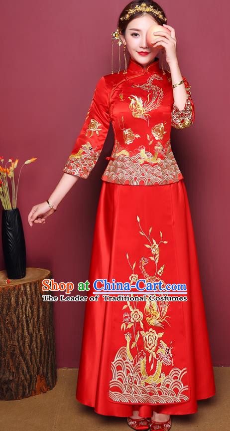 Chinese Ancient Wedding Costume Traditional Bottom Drawer, China Ancient Bride Toast Clothing Embroidered Peony Xiuhe Suits for Women